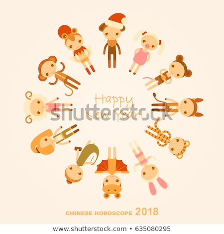 Chinese New Year rat funny costume children card Stock photo © cienpies