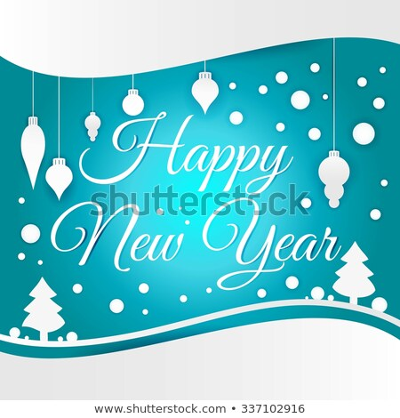 celebratory congratulation on beautiful blue falling snowflakes stock photo © ukrainec