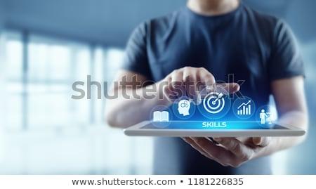 Negócio habilidades texto caderno caneca de café gráfico de barras Foto stock © Mazirama