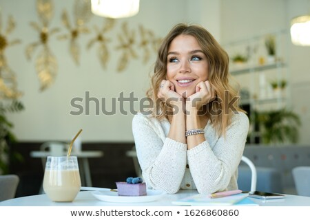 小さな 笑みを浮かべて 女性 空想 時間 ストックフォト © pressmaster