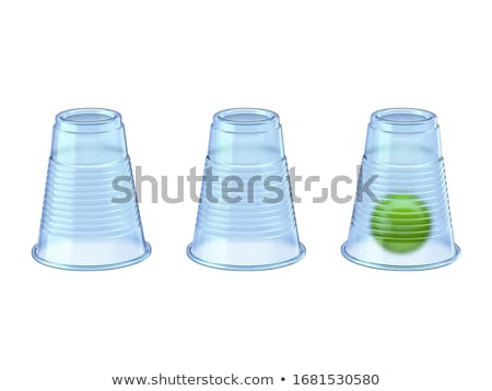Shell Game three transparent cups and green ball 3D Stock photo © djmilic