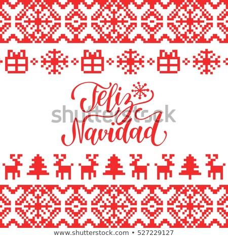 Christmas gebreid doopvont herten Rood kleur Stockfoto © ShustrikS