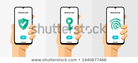 Smartphone mockup with different protection type protocoles. Fingerprint, password and key protect.  Stock photo © karetniy