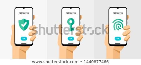 Smartphone verschillend bescherming type vingerafdruk Stockfoto © karetniy