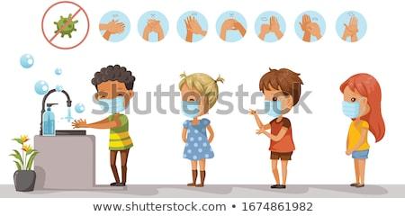 Fürdőszoba mosdókagyló mosás kezek arc vektor Stock fotó © pikepicture