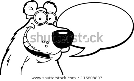 Cartoon bear with a caption balloon. Stock photo © bennerdesign