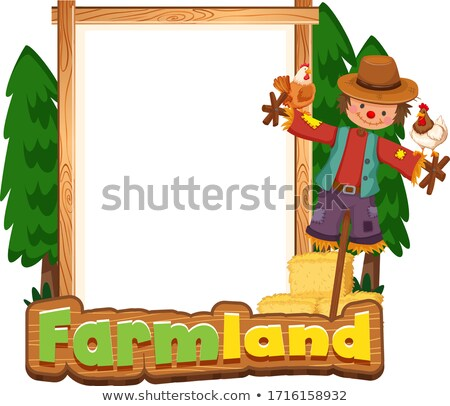 Border template design with scarecrow and chickens Stock photo © bluering