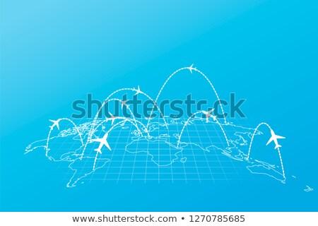 Linia lotnicza samolotów mapie świata perspektywy niebieski niebo Zdjęcia stock © evgeny89