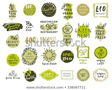 vegan food green leaves label or sticker design Stock photo © SArts