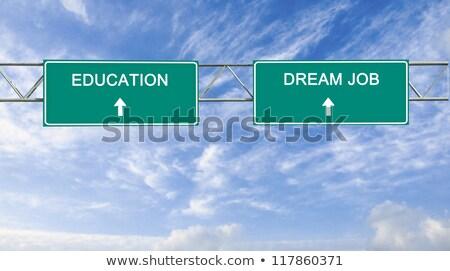 verde · placa · sinalizadora · sonhos · nuvem · negócio · rua - foto stock © kbuntu