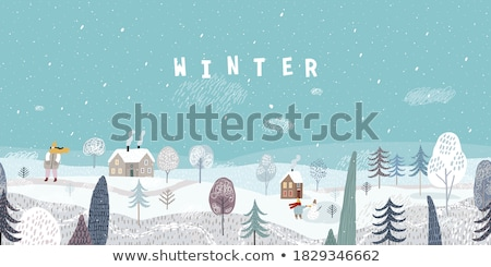 kış · afişler · ayarlamak · dört · kar · taneleri · soyut - stok fotoğraf © upimages