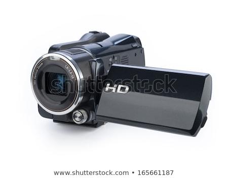 Hd cámara de vídeo negro aislado blanco televisión Foto stock © angelp
