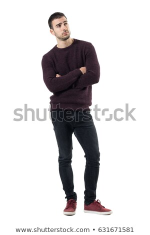 Pensive young man in red sweater stock photo © Paha_L