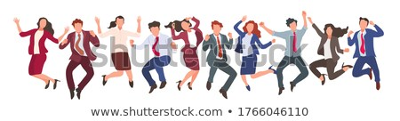 Happy jumping business team collage Stock photo © Paha_L