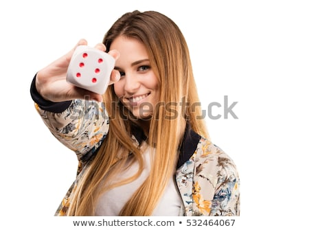 Stock photo: Dices in woman's hand