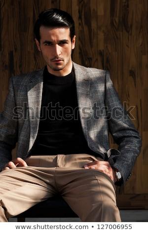 Invierno estilizado aire libre retrato muscular hombre Foto stock © curaphotography