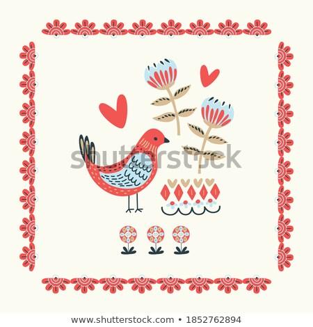 sevimli · kuşlar · çiçek · düğün · sevmek · dizayn - stok fotoğraf © isveta