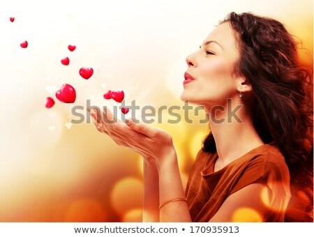 güzel · bir · kadın · öpücük · yalıtılmış · beyaz · el - stok fotoğraf © stuartmiles