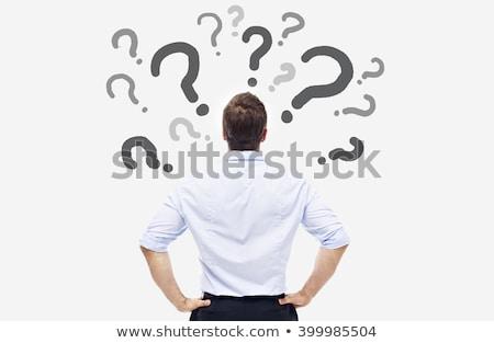 Stock fotó: üzletember · kérdő · tart · kérdőjel · fej · klasszikus