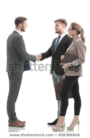 Apretón de manos aislado negocios oficina trabajo signo Foto stock © zurijeta
