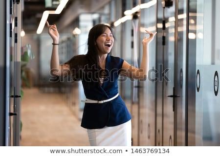 意気揚々 女性実業家 作業 技術 ニュース スーツ ストックフォト © photography33
