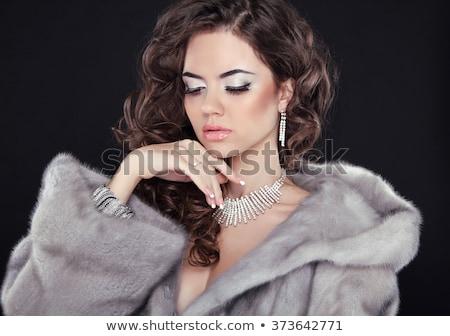 женщину · мех · улыбка · лице · моде - Сток-фото © photography33