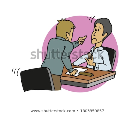 Office worker at his desk threatening with finger Stock photo © photography33