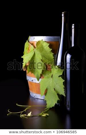 wijn · flessen · druif · blad · zwarte · vat - stockfoto © justinb