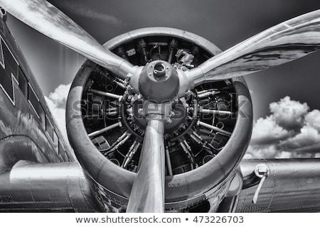 Oude vliegtuigen Geel propeller Blauw Maakt een reservekopie Stockfoto © prill