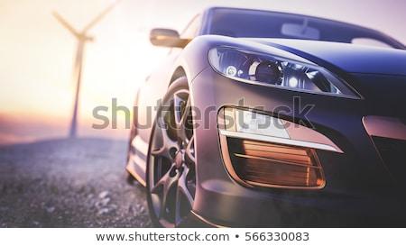 Сток-фото: назад · закат · автомобилей · черный · небе · дороги