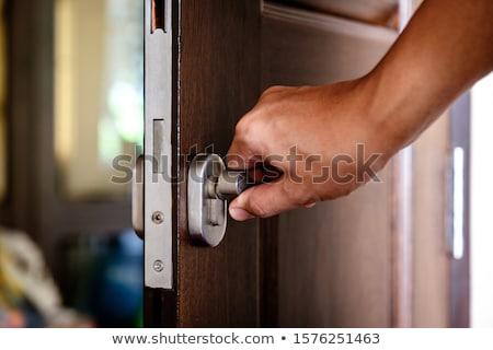 Ajtóküszöb zárolt vasaló öreg kapu ház Stock fotó © bbbar