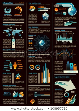 infographic sheet dark version with a lot of design elements to use icons arrows graphs indicato stock photo © davidarts