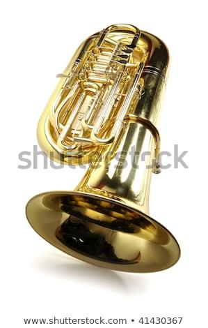 Large gold brass tuba on white background Stock photo © ozaiachin
