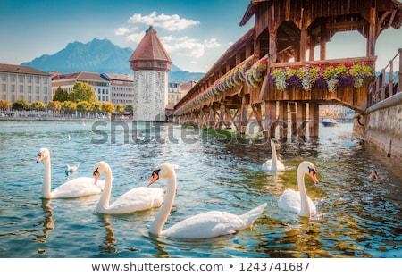 Küçük kilise köprü göl şehir su seyahat Stok fotoğraf © sumners