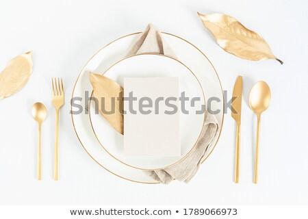 金 · カトラリー · 白 · 金属 · レストラン · ディナー - ストックフォト © ozaiachin
