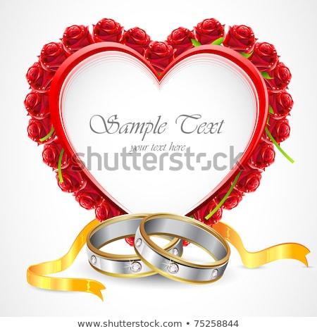 Wedding Rings Platinum Band With Hearts Illustration Stockfoto © Vectomart