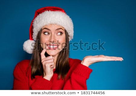 karácsony · lány · aranyos · szőke · nő · mikulás · jelmez - stock fotó © oksanika