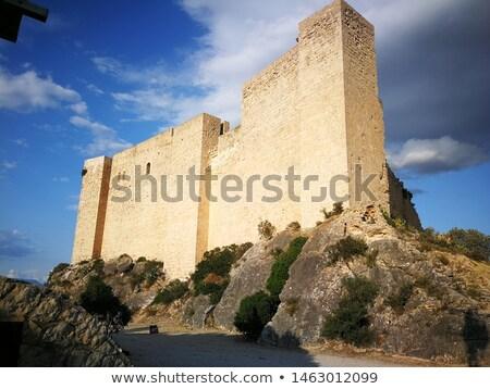 Ortaçağ kale İspanya ev Bina duvar Stok fotoğraf © Nobilior