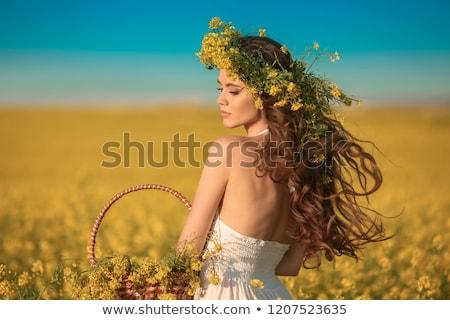 Barna hajú nő sárga virágok mező gyönyörű érzékiség Stock fotó © bartekwardziak