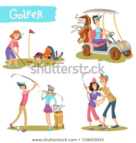 Golfçü çift golf manzara karanlık kadın Stok fotoğraf © photography33