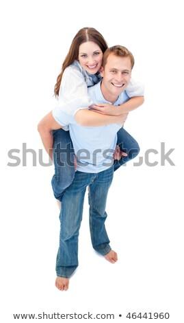 Szerelmes pár élvezi háton férfi háttér Stock fotó © wavebreak_media