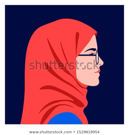 Stockfoto: Meisje · hoofddoek · mooie · vrouw · roze · lingerie · gekleurd