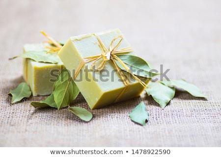 Duftenden Olivenöl Seife weiß isoliert Blatt Stock foto © Masha