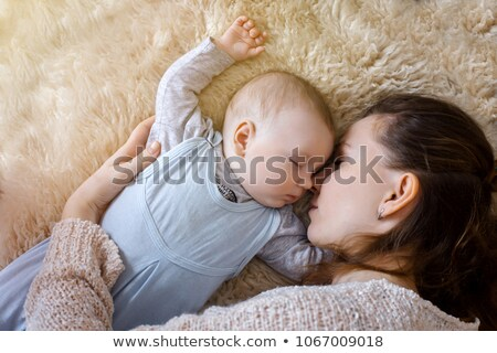 vreedzaam · baby · bed · ouder · kamer · oog - stockfoto © wavebreak_media