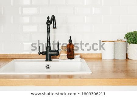 Grifo detalle cromo fuera enfoque bano Foto stock © ABBPhoto