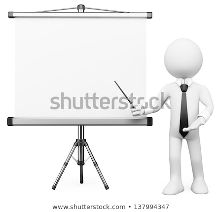 3D white people. Projection screen Stock photo © texelart