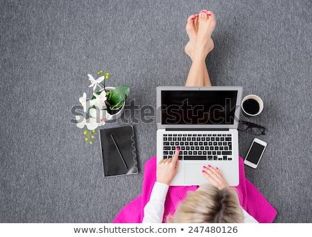 Fiatal nő rózsaszín felső laptopot használ mosolyog boldog Stock fotó © SophieJames