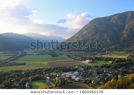 Small village and mountain peak on background in Italy. Stock photo © rglinsky77
