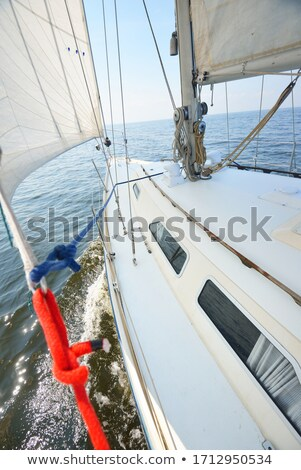 Zeilboot zeilen Blauw zee zonnige zomer Stockfoto © lunamarina