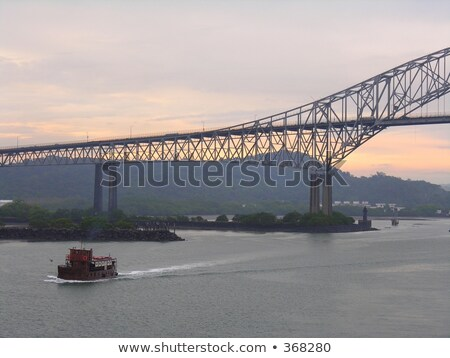 Foto stock: Ponte · Panamá · cidade · pôr · do · sol · navio · rio